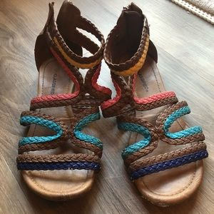 🌈Colorful braided gladiator sandals